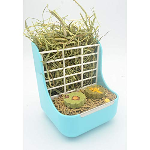 SunshineBio Hay Food Bin Feeder, Hay and Food Feeder Bowls Manger Rack for Rabbit Guinea Pig...