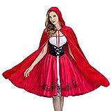 KAXI Disfraces De Halloween para Mujer Disfraz De Caperucita Roja Gótica para Adultos Fiesta De Noche Disfraz De Cosplay para Graduación,Rojo,M