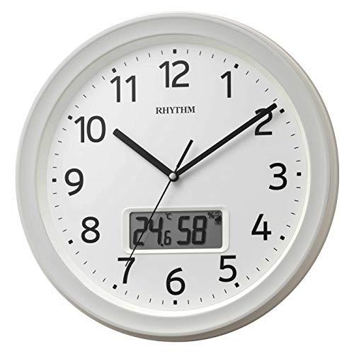 リズム(RHYTHM) 掛け時計 白 Φ32.5x5cm 電波 アナログ デジタル 連続秒針 温度 湿度 カレンダー 8FYA02SR03