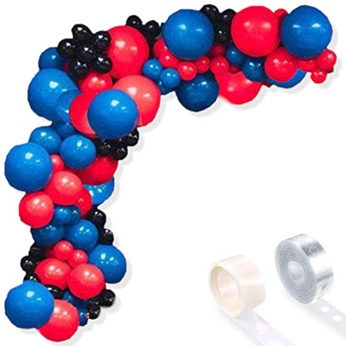 Juego de 92 globos de arco de superhéroe para fiesta de cumpleaños y baby shower (negro, rojo y azul)