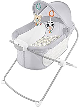 Fisher-Price Soothing View Projection Bassinet – Fawning Leaves Folding Portable Baby Cradle with Projection Light for Newborns and Infants