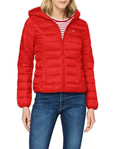 Tommy Jeans Damen Tjw Hooded Quilted Zip Thru Jacke, Rot (Deep Crimson), M