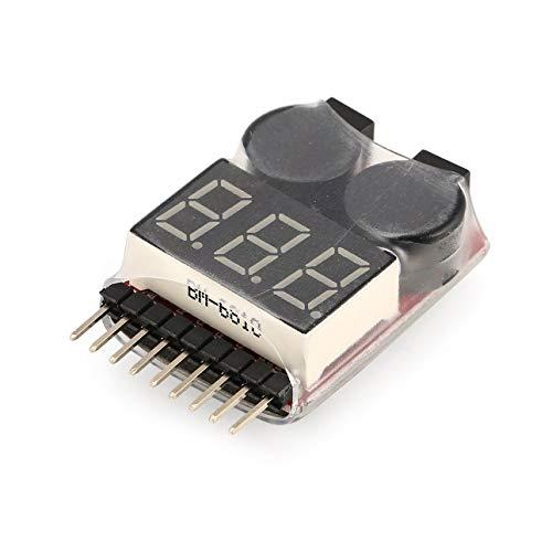 Ba30DEllylelly Comprobador de Voltaje de batería Lipo Comprobador de indicador de voltímetro Altavoz Doble 2 en 1 1 s-8 s Combinación de Alarma de zumbador de bajo Voltaje