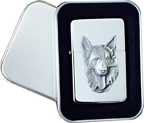 Chrome Star aansteker met tinnen Duitse herder hond embleem, compleet met metalen geschenkblikje
