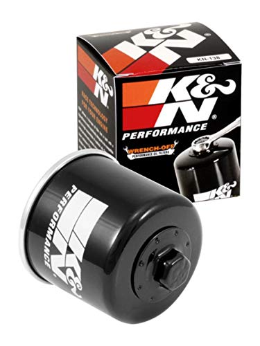 K&N Motorcycle Oil Filter: High Performance, Premium, Designed to be used with Synthetic or Conventional Oils: Fits Select Suzuki Motorcycles, KN-138, black, Fitment