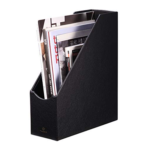 VPACK Magazine File Holder Organizer - PU Leather Office Desk Organizer Collection for Files, Magazines, Books, Papers, Letters and Other documents (5. Black-PU)