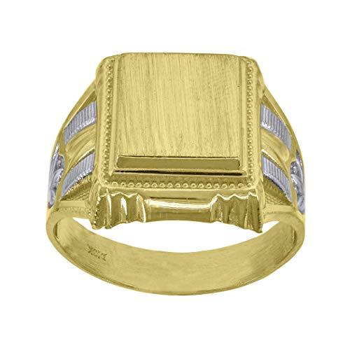 Anillo de oro de 10 quilates con textura de cara cuadrada para mujer, tamaño N 1/2, medidas 17,2 x 5,00 mm de ancho, joyería para mujeres, mayor grado de oro que el oro de 9 quilates