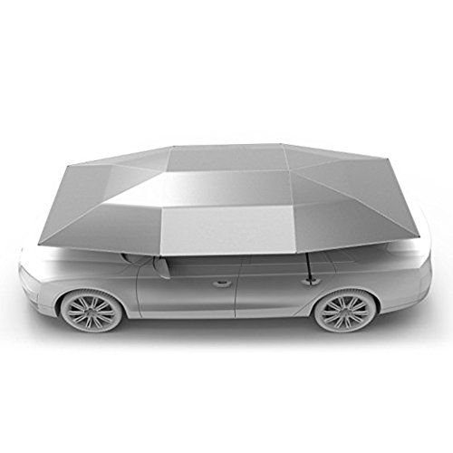 Rooftop Tent, Automatic Semi-auto Manual Folded Car Umbrella, Portable Auto Protection Car Tent Sunshade, Movable Carport Canopy for Outdoor Camping Tent (2019 New Arrival 4.8M)(Silver)