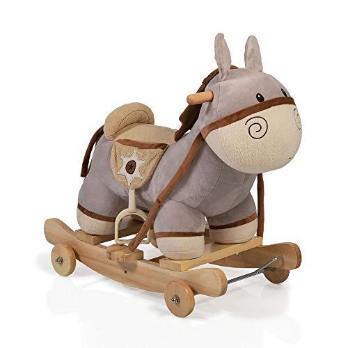 Moni Trade Ltd. Schaukelpferd Plüsch Esel Dulcinea WJ-302, Sound, Kufen und klappbaren Rollen