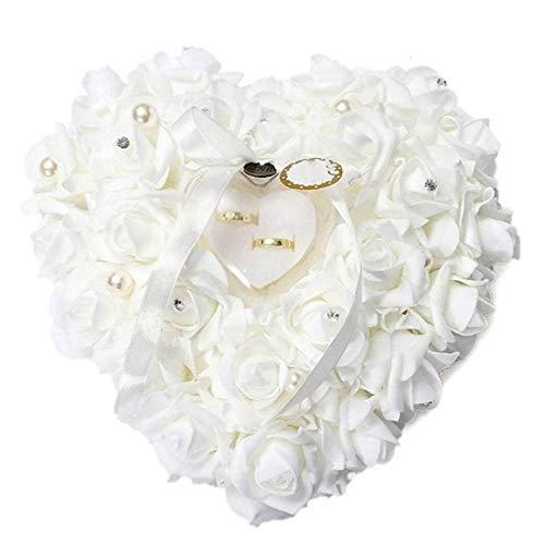 1pc Rose Romántica Boda De La Caja del Anillo del Corazón De Rose Favores De Anillo De Bodas Almohada con Joyería De del Caso Accesorios De Boda