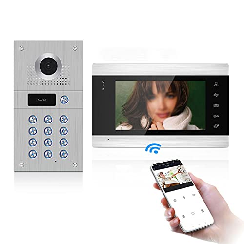 SMLJLQ 960P WiFi Wired Video Intercom with Camera and Code Keypad Cards Access Control System Motion Detection Record
