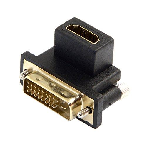 CY DVI macho a HDMI hembra adaptador para computadora y HDTV y tarjeta gráfica 90 grados en ángulo negro