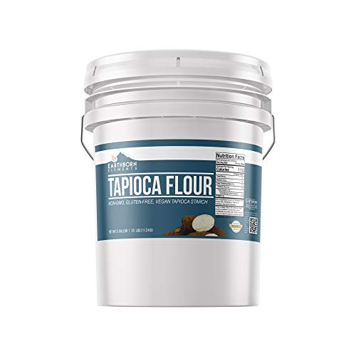 Tapioca Flour (5 Gallon (25 lb.)) by Earthborn Elements, Also Known As Tapioca Starch, Resealable Bucket, Fine White Powder, Gluten-Free, Non-GMO