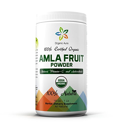 Certified Organic Aura Amla Powder 16Oz - 1Lb. Natural Vitamin C and Antioxidants. Raw Whole Superfood. 100% All Natural, Pure and Fresh. Non GMO and Gluten Free.