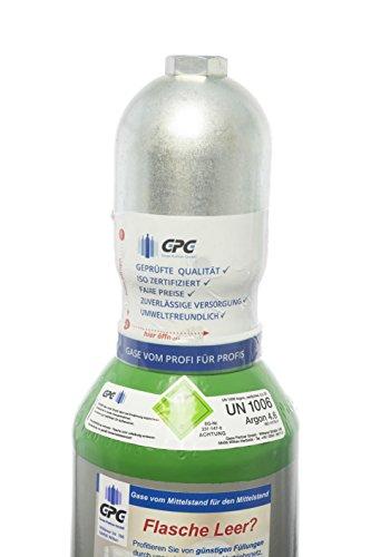 Argon 4.6 5 Liter Flasche/NEUE Gasflasche (Eigentumsflasche), gefüllt mit Argon 4.6 (Reinheit 99,996%)/10 Jahre TÜV ab Herstelldatum/EU Zulassung/Schweißargon WIG,MIG - Globalimport