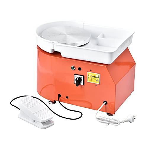 S SMAUTOP 350 W elektrisch aardewerkwiel, keramische machine 25 cm met vormgereedschapsset Geschikt voor binnenshuis…