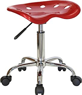Flash Furniture Vibrant Wine Red Tractor Seat and Chrome Stool - LF-214A-WINERED-GG