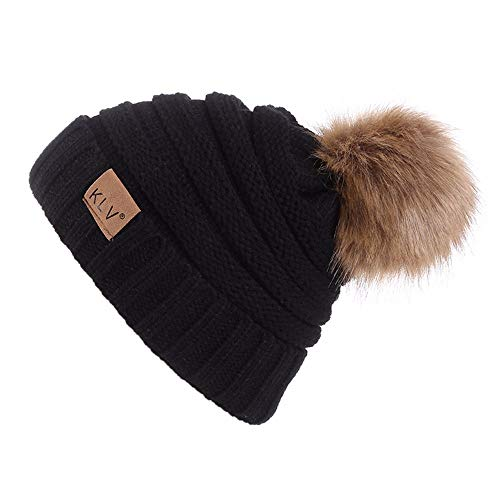 Rockia Women Knit Wool Beanie with Fur Pom Poms Unisex Winter Warm Outdoor Thick Knit Hat Caps Skull for Teen Girls Juniors (Black)