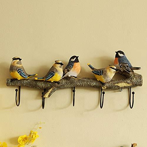 LANKOULI Wandgarderobe Vögel auf AST AST Kleiderbügel mit 4 Haken für Mäntel, Hüte, Schlüssel, Handtücher, Kleiderbügel