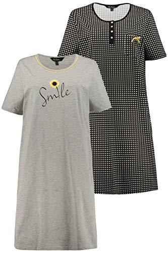 Ulla Popken Damen Bigshirts, 2er-Pack, Biobaumwolle, Größen Nachthemd, schwarz, 66+