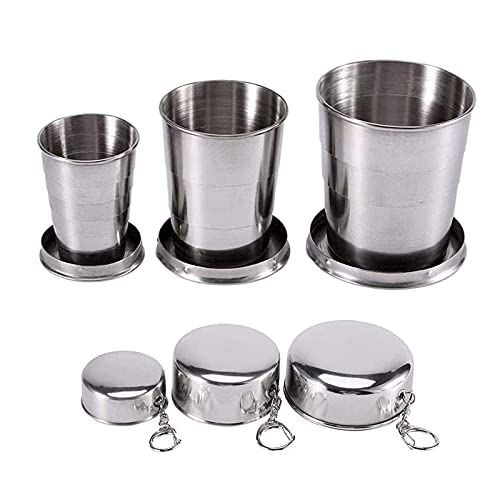Yeky 3PCS Travel Folding Cup S/M/L Stainless Steel Cup Camp Key Chain Design Retractable Telescopic Collapsible Cup, Wine Glass