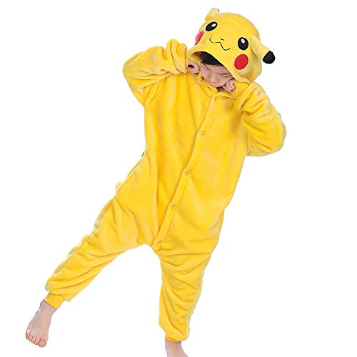 zpllsbratos Niños Pijamas Animales Ropa de Dormir Cosplay Disfraz para Carnaval Halloween Navidad(Pikachu,Etiqueta 125 para Altura 135cm-145cm)