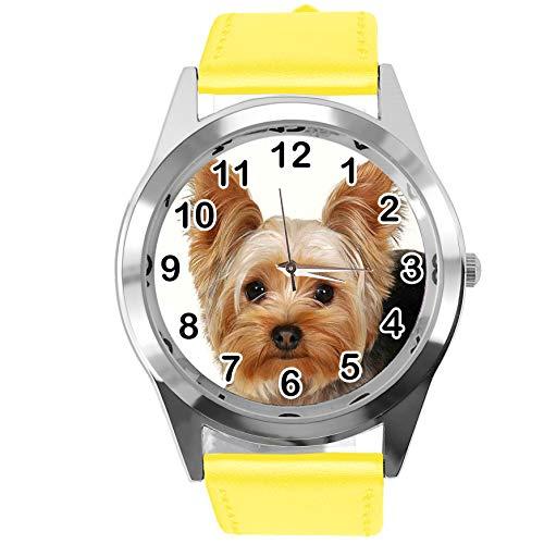 Reloj analógico de Cuarzo con Correa de Piel auténtica, Redondo, Amarillo, para los Fans de York Terrier