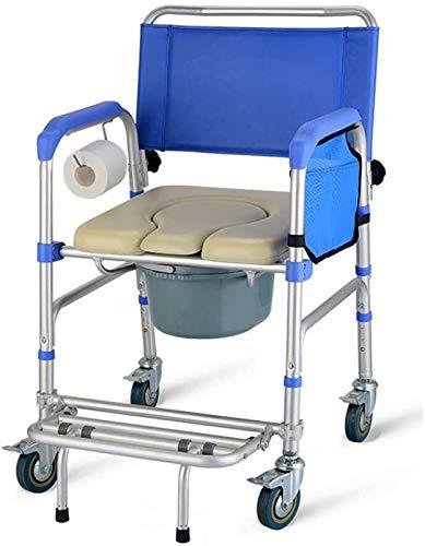 HMMN Silla de la Inodoro con Ruedas portátil Plegable, Silla de baño con Ruedas Altura Ajustable, usada para Mujeres Embarazadas con discapacidades Mayores