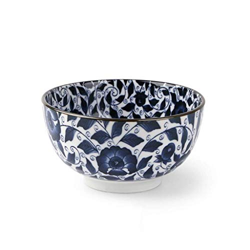 CESULIS Cuenco de cerámica importado Japón de porcelana azul y blanco Vajilla de fideos de ternera, cuenco de Ramen japonés de 15,2 cm, gran fuente de sopa de frutas (color 1)