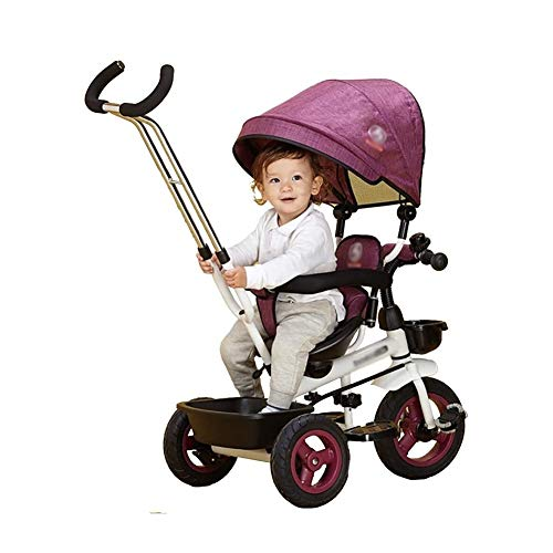 TQJ Cochecito de Bebe Ligero 4 En 1 Triciclo Niños con Sombrilla Y La Varilla De Empuje, Fit De 12 Meses A 6 Años, El Peso Máximo De 25 Kg Niños Triciclo (Color : #1)