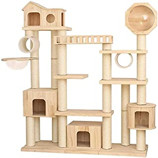 Cat Tower Popular Cat Toy Cat Tree for Large Cat, Cat Scratch Post Pet Play Towers Tree Large Wooden Lodge Lounger Sleepin...