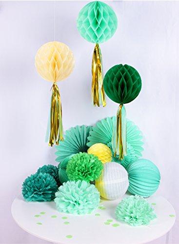 Easy Joy Decoración del Hogar, Flor de Pompón y Linterna de Papel, Decoración de Bricolaje para Vacaciones, Cumpleaños, Aniversario (17 Piezas, Verde Amarillo)