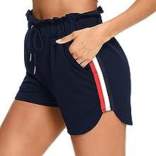 Doaraha Pantalón Corto de Chándal de Mujer, Pantalones Cortos Deportivos para Mujer, Pantalón Verano de Cintura Elástica con Bolsillos, Pantalones Cortos de Pijamas Mujer, Azul Marino, XXL