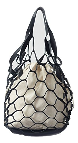 Strandtasche, nautische Handtasche, inspiriert von einem Fischnetz., Schwarz (schwarz), Medium