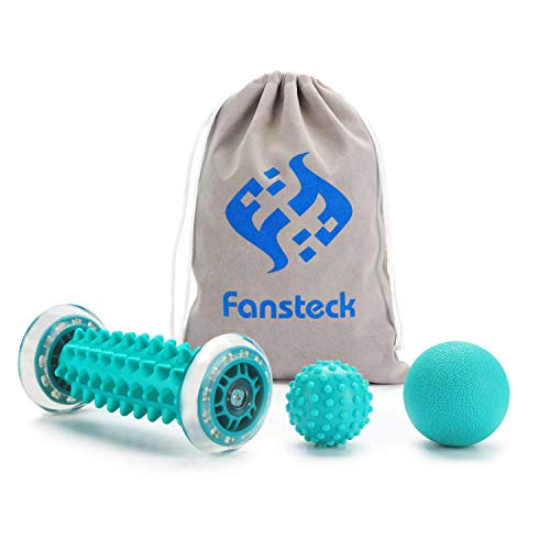 Fansteck Igelball und Fußmassageroller Set für Plantarfasziitis, Faszien Muskel Roller & Bälle Set, Schmerzlinderung für Hacken, Stressreduzierung und Entspannung durch Triggerpunkt-Therapie