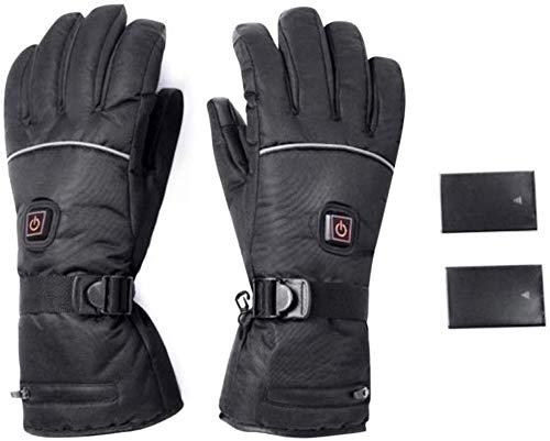 Elektrische Beheizbare Handschuhe Winterhandschuhe Batterie Beheizt Skihandschuhe für Herren Damen Reiten Laufen Skifahren Wandern Radfahren Motorrad Handschuh (1#schwarz)