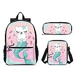 Delerain - Juego de 3 mochilas para niños con diseño de gato y sirena, para la vuelta al cole, con bolsa y estuche para lápices, duradero, ligero, para viajes, para adolescentes y estudiantes