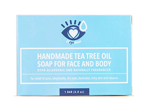 Tea Tree Oil Face Soap and Eyelid Scrub for Support of Eyelid Irritation, Itchy Skin, Flaky Skin, and Dryness, Handmade with Organic Ingredients (1 Pack) [Packaging May Vary]