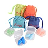 Noise Cancelling Ear Plugs for Sleeping, Earplugs Reusable Silicone, Soft Waterproof Earplugs for Work, Study, Swimming, with 4 Storage Cases+4 Travel Pouches (Multi-Color) (4Pairs)