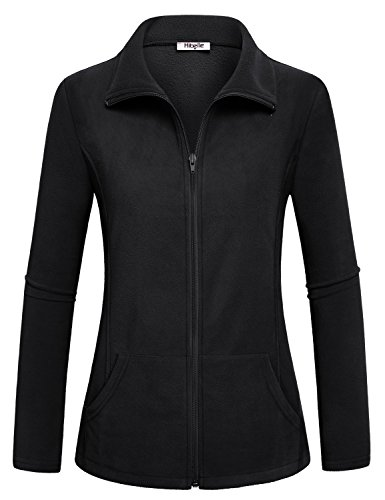 Black Fleece Jacket, Hibelle Womens High Collar Jackets Weatherproof Thermal Coat with Zipper Long Sleeve Activewear Sport Tops Outerwear Simple Slim Cut Clothing Large L