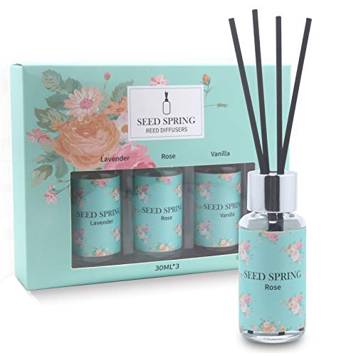 Reed Diffuser Set of 3, Lavender Rose Vanilla Oil Reed Diffuser Free of Harmful Chemicals Used for Bedroom Living Room Interior Bathroom Scent Diffuser Box Packaging 30ml x 3