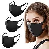 EVMed ™ - Set di 3 Mascherina anti polvere, riutilizzabili e lavabili per esterni, unisex, per uso personale, colore: Nero, Taglia MEDIA
