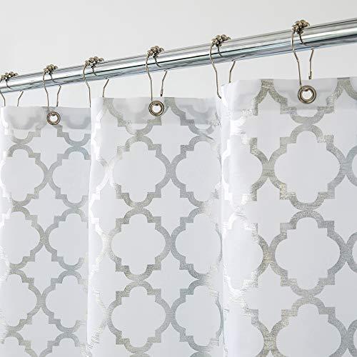 Aimjerry Duschvorhang für Badezimmer, gestreift, waschbar, wasserdicht, 180,3 x 180,3 cm, Silbergrau