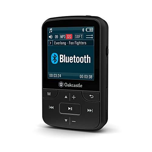 Oakcastle 8 Go - Lecteur MP3 avec fente micro SD, Bluetooth, Batterie longue durée pour le plein air et la course à pied, Compatible avec cartes SD 32 Go / 64 Go / 128 Go, Écouteurs inclus