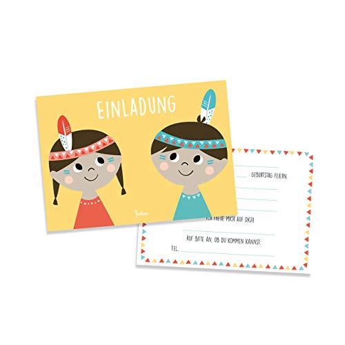 Julica Einladungskarte Kindergeburtstag | Indianer Motiv | Einladung zu Geburtstag | Jungen & Mädchen
