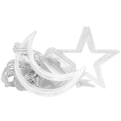 Lámpara de Cortina de Estrella y Luna, Cadena de luz LED, Cadena de luz de Estrella y Luna, Modo 8 para Bodas, cumpleaños,(European Standard 220V, Color)