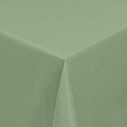 Leinen Optik Tischdecke Tischtuch Tafeldecke Leinendecke Abwaschbar Wasserabweisend Eckig 130 x 220 cm Hellgrün/Grün Fleckschutz Pflegeleicht mit Saumrand Leinentuch