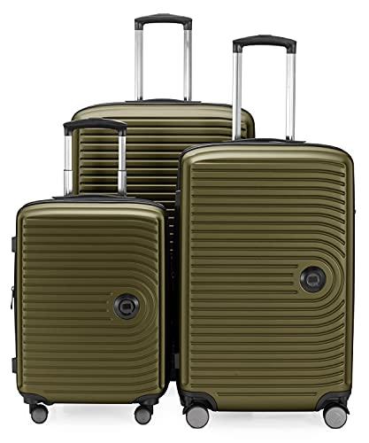 HAUPTSTADTKOFFER - MITTE - Juego de 3 Maletas - Equipaje de Cabina con Ruedas de 55 cm, Trolley de tamaño Mediano de 68 cm + Maleta Grande de 77 cm, ABS, Combinación TSA, Palta
