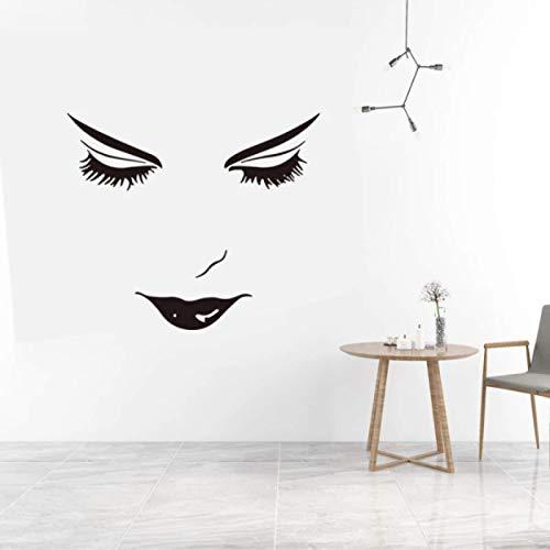 Pegatina de pared de cara hermosa, decoración de sala de estar, habitación de niña, calcomanías de arte mural, pegatinas de características faciales hermosas para dormitorio