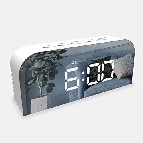 Digitale wekker, LED-instelbare helderheid Spraakbesturing Spiegeleffect Bureauwekker, met sluimerfunctie, datumtemperatuur, dimmerregeling, ondersteuning op batterijen en met USB-poort - wit